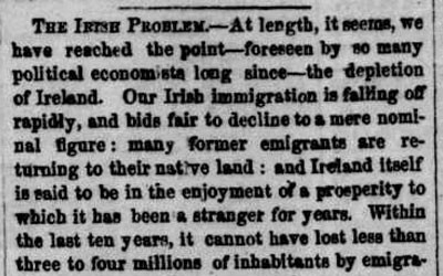 This newspaper article from 1854 relates how declining Irish immigration will not lead to a labor shortage in the United States because the author is predicting a rise in immigration from Germany.