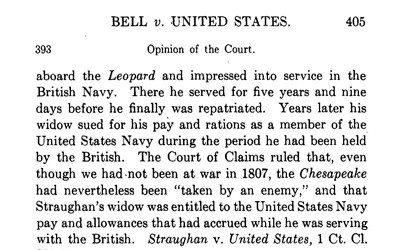 The Supreme Court's ruling on a case where Veterans of the Korean War were denied their pay while they were in a POW camp in North Korea.