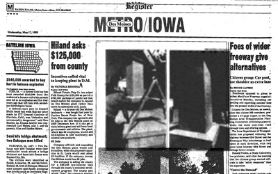 Article and photograph published on May 17, 1989 in the Des Moines Register telling about the newly installed Korean War Veterans Memorial on the grounds of the Iowa Capitol.