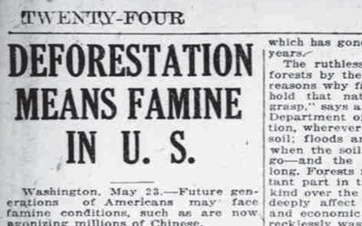 Newspaper article from 1921 discussing the problems with deforestation, and links to famine in China.