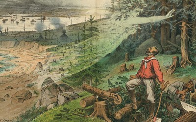 """Illustration shows a female spirit labeled """"Public Spirit"""" warning two men cutting logs, of the consequences of deforestation."""