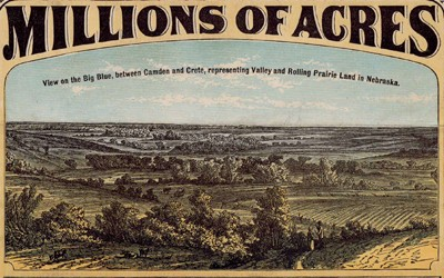 This flyer from the Burlington and Missouri River R.R. Co. is selling millions of acres of land in Iowa and Nebraska.