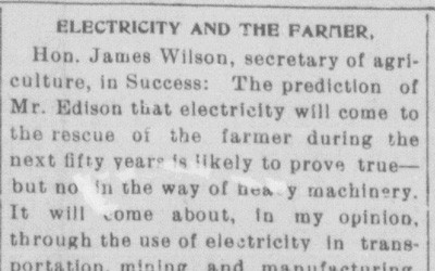 """""""Electricity and the Farm"""" Newspaper Article, February 28, 1901"""