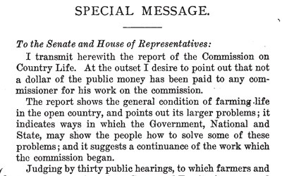 """Special Message from the President of the United States Transmitting the Report of the Country Life Commission,"" 1909"