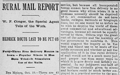 """Rural Mail Report"" Newspaper Article, October 24, 1899"