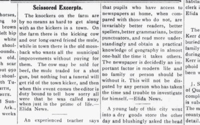 """Experienced Teacher"" and ""Newspapers"" Article, October 12, 1907"
