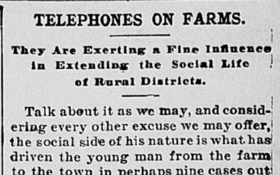 """Telephones on Farms"" Newspaper Article, December 30, 1902"