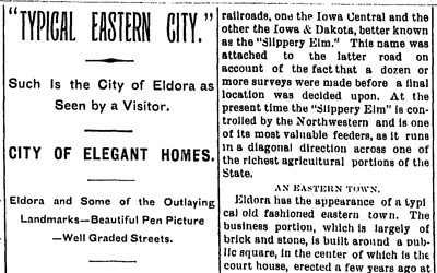 """Typical Eastern City"" Newspaper Article, September 1, 1900"