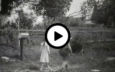 The subject is the delivery of the U.S. mail in a rural area. The camera was positioned in full sight of a standard rural free delivery post box located in front of a well-kept house and garden. A small boy and girl walk past the camera position in front of the mail box. At that moment, a standard rural horse-drawn postal delivery wagon comes into sight. The postman places the mail in the box, and the wagon continues on its way.