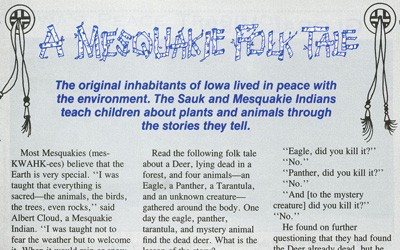 """A Mesquakie Folk Tale"" in The Goldfinch, September 1991"