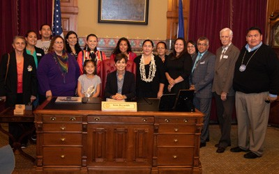 """Iowa Gov. Kim Reynolds proclaims Monday as Indigenous Peoples Day"" Newspaper Article, October 8, 2018"