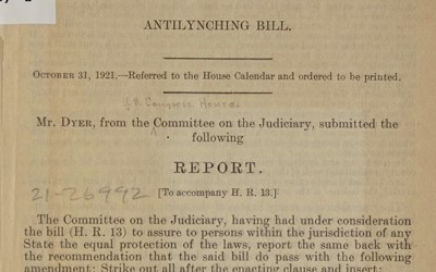 "A report submitted by the Committee on the Judiciary to accompany House Bill 13, ""The Antilynching Bill"" that details research and support for passing the bill into law that would make illegal the practice of lynching."