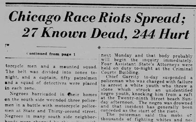 """Chicago Race Riots Spread"" Newspaper Article, July 30, 1919"