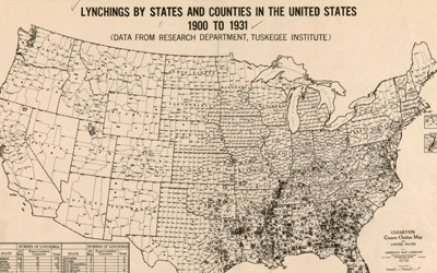 A map depicting the number of lynchings by state and county from 1900-1931. The map shows the heaviest concentration of lynchings occurring in Southern States.