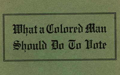 From the African American Pamphlet Collection, this pamphlet shared the requirements for someone who was African American to be able to vote in several Southern States.