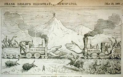 Image symbolizing the connection of the transcontinental railroad