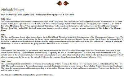 "Article about how the Meskwaki tribe and the Sauki tribe became three separate ""Sac & Fox"" tribes"