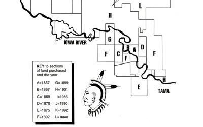 Map and text of the Meskwaki land purchases over time.