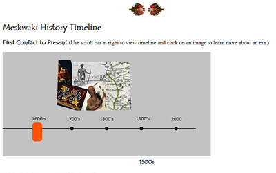 Timeline of Meskwaki people from the early 1880's to present.