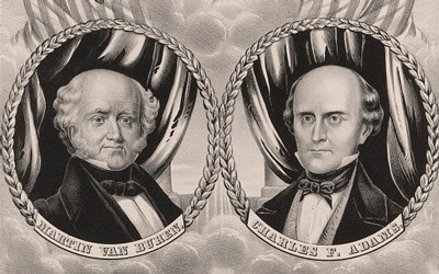 This banner was used to promote the Free Soil Party's candidates for President and Vice-President in the Election of 1848.