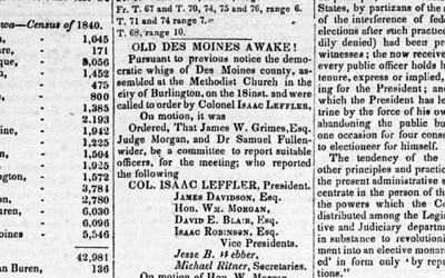 This newspaper article was the minutes of the Whig party meeting in Des Moines County, Iowa Territory in 1840.