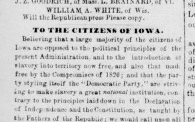 Governor James Grimes, a Whig, wrote this open letter in 1856 inviting people to help start the Republican party in Iowa.