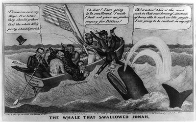 This 1844 political cartoon shows conflict within the Whig party over the issue of the National Bank.