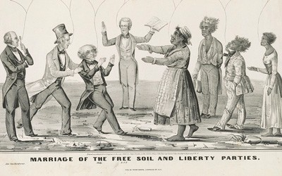 This political cartoon shows the merging of the Free Soil and the Liberty Parties in 1848.