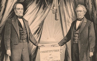 This banner was produced to promote the Constitutional Unionist Party and its candidates for President and Vice-President in the Election of 1860