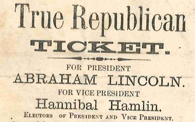 This ballot for the Election of 1860 was a straight ticket ballot distributed by the Republican party for their members to use when they publicly cast their ballot.