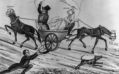 This 1848 political cartoon predicted the downfall of the Whig party by showing its leaders trying to take the party in opposite directions.