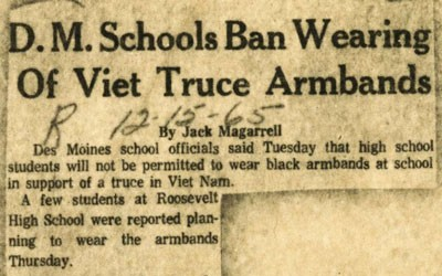The short article appeared in the Des Moines Register regarding Des Moines Public Schools students' ability to wear arm bands in support of a truce in Vietnam.