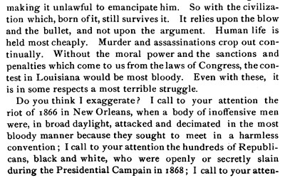 On October 23, 1873, Edward C.  Billings, a northern lawyer who moved to New Orleans in 1865, delivered an address in Hatfield, Massachusetts to discuss the current state of Louisiana and the challenges faced by the recently freed enslaved population.