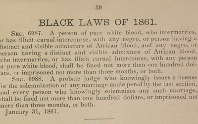 """Black Laws"" of 1861, 1864 and 1878"