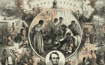 """In his 1865 image titled """"Emancipation,"""" Thomas Nast celebrated the emancipation of Southern slaves with the end of the Civil War by contrasting a life of suffering and pain before the conflict with a life of optimism and freedom afterwards."""