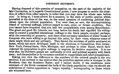 In his May 7, 1868 letter to Massachusetts Senator Charles Sumner, Daniel R. Goodloe of North Carolina expressed his belief that on the whole, Northerners were just as opposed to political and social equality for African-Americans as Southerners. He also shared his views on the problems that emerged with the enfranchisement of African-Americans in North Carolina and the rest of the South during Reconstruction.