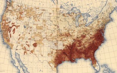 Based upon the results of the eleventh census, this map from the 1898 Statistical Atlas of the United States depicts the percentage of people of color per square mile across the United States.