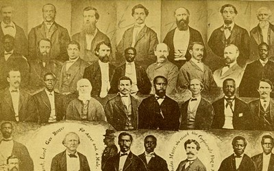 This 1876 photo montage depicts the first South Carolina legislature after the 1867 Reconstruction Acts, a legislature that became to first in American history with an African-American majority.