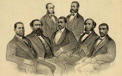 This 1872 portrait print published in New York by Currier and Ives depicts a group portrait of the first African-American legislators in the history of the United States Congress.