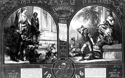 "Thomas Nast's ""(?)Slavery is Dead(?)"" appeared in the  January 12, 1867 edition of Harper's Weekly  to draw attention to the ability of state governments to work around the 1863 Emancipation Proclamation, 1865 Thirteenth Amendment to the Constitution, and 1866 Civil Rights Act."