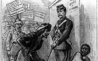 """In this 1875 image published in the Birmingham (Alabama) News and titled """"Shall we call home our troops? """"We intend to beat the negro in the battle of life & defeat means one thing--EXTERMINATION,"""" a group of five Southern white men is shouting at and intimidating an African-American man who cowers behind a United States soldier who is calmly standing between the mob and African-American with his gun and bayonet pointed towards the ground."""