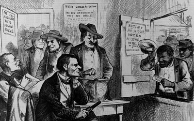 This October 31, 1874 image drawn by James Albert Wales for Harper's Weekly depicts African-Americans being discriminated against at the polls by the White League in their effort to vote for Republican Party candidates.