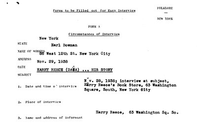 This interview was collected in 1938 by the Federal Writers' Project, a component of the Work Projects Administration. In the interview, Harry Reese described his first trip to Chicago around 1900. Reese was born and grew up in rural Illinois.