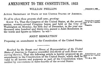 The 21st Amendment to the Constitution was ratified in 1933 and repealed the 18th Amendment making alcohol legal in the United States.