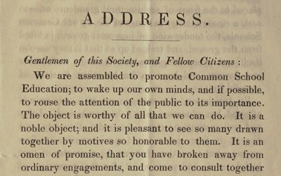 George Hosmer delivered this address in 1840 to persuade people in Erie County, New York that free, common schools would provide numerous benefits to people and to society.
