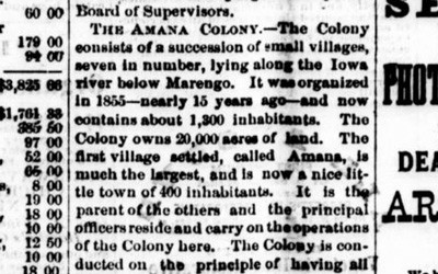 The Tipton Advertiser printed a short article about the Amana Colony and its history in 1969.
