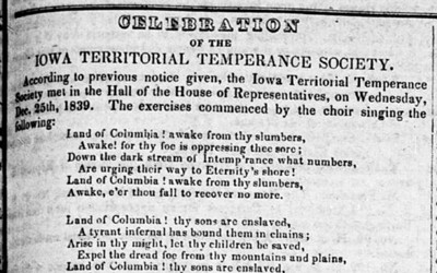 The Iowa Hawk-eye and Iowa Patriot published the minutes of the Iowa Territorial Temperance Society meeting early in 1840.