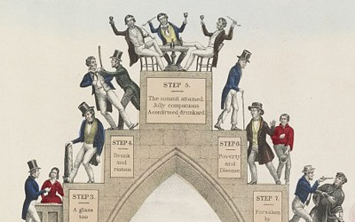 This political cartoon from 1846 showed the progress of an individual from taking one drink to a slide into alcoholism and ruin.