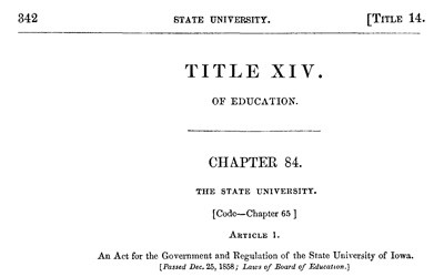 The Iowa Code from 1860 includes the Iowa School Law of 1858 which was made based on recommendations from commissioners appointed by the Iowa legislature.