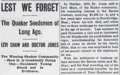 This 1909 newspaper gave a history of the Shaker utopian society.